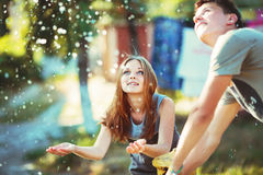 Teenage girl having fun outside. Stock Photos