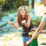 Teenage girl having fun outside. Royalty Free Stock Photo