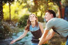 Teenage girl having fun outside. Young couple together Royalty Free Stock Photo