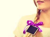 Teenage girl having little blackboard in hair Royalty Free Stock Photography