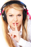 Teenage girl in headphones Stock Image