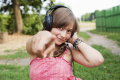 Teenage girl  with headphones Stock Photo
