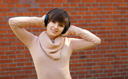 Teenage girl with headphones Royalty Free Stock Photo