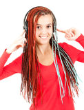Teenage girl with headphones Royalty Free Stock Image