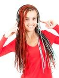 Teenage girl with headphones Royalty Free Stock Image