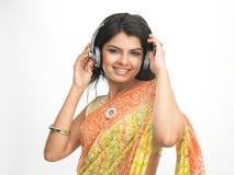 Teenage girl with headphones Stock Image