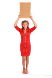 Teenage girl in headphones, holding cork board Stock Images