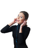 Teenage girl with headphones listening to music Royalty Free Stock Photography