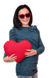 Teenage girl with heart Royalty Free Stock Photos