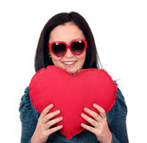 Teenage girl with heart Stock Images