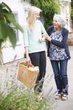 Teenage Girl Helping Senior Woman To Carry Shopping. Girl Helping Senior Woman To Carry Shopping royalty free stock photo