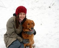 Teenage girl and her dog Royalty Free Stock Images