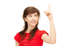 Teenage girl with her finger up Royalty Free Stock Photos