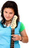 Teenage girl with her guitar Stock Photos