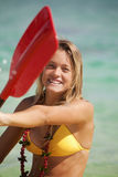 Teenage girl with her kayak Royalty Free Stock Photo