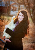 Teenage girl and her pet duck Royalty Free Stock Photo