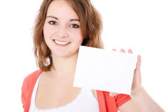 Teenage girl holding blank white card Stock Photography
