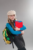 Teenage girl holding books royalty free stock photos