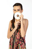 Teenage girl holding CD Royalty Free Stock Photography
