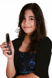 Teenage girl holding cellphone Stock Photography