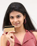 teenage girl holding credit card Royalty Free Stock Images