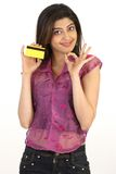 teenage girl holding credit card Stock Photos