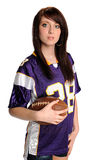 Teenage Girl Holding Football Stock Photo