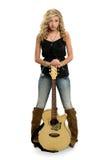 Teenage Girl Holding Guitar Stock Image