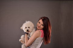 Teenage girl holding Maltese puppy. Cute redhead teenage girl holding Maltese puppy, studio shot against gray background Royalty Free Stock Photography