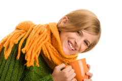 Teenage girl holding mug Royalty Free Stock Photo