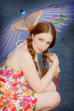 Teenage Girl Holding Parasol Royalty Free Stock Image