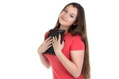 Teenage girl holding photo frame. Photo of teenage girl holding photo frame on white background Stock Photography