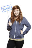 Teenage girl holding a social media sign smiling stock images