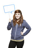 Teenage girl holding a speech bubble sign smiling Royalty Free Stock Photography