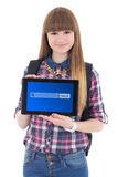 Teenage girl holding tablet pc with search bar on screen isolate Stock Photos