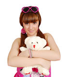 Teenage girl holding teddy-bear Royalty Free Stock Image