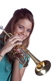 Teenage Girl Holding Trumpet Isolated On White Royalty Free Stock Photos