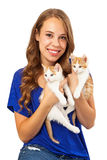 Teenage Girl Holding Two Kittens Royalty Free Stock Photography