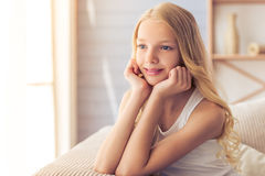 Teenage girl at home Stock Photo