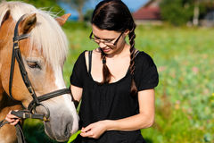Teenage girl with horse Stock Photography