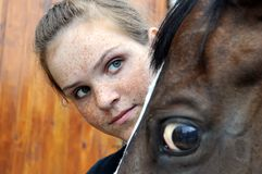 Teenage girl and horse Royalty Free Stock Images