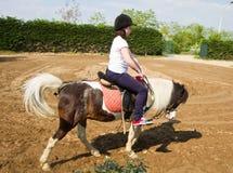 Teenage girl on horseback wearing helmet Royalty Free Stock Photography