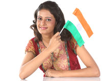 Teenage girl with indian flag Royalty Free Stock Photo
