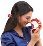 Teenage girl with the jewelry box Stock Photography