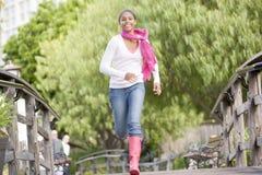 Teenage Girl Jogging In Park Royalty Free Stock Photos