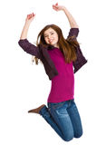 Teenage girl is jumping Stock Images