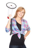 Teenage girl keeping megaphone Stock Photos