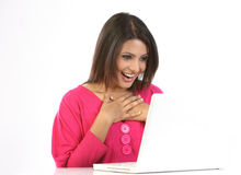 Teenage girl  with the laptop Royalty Free Stock Images