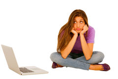 Teenage girl with laptop Stock Photography