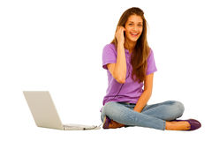 Teenage girl with laptop Royalty Free Stock Photo